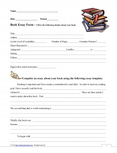 Paragraph Essay Book Report Form - What Teachers Need