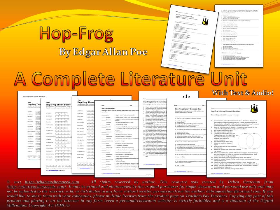 analysis of hop frog by edgar allen The website for people interested in serious scholarship and study about edgar allan poe: biographies, chronologies, and a comprehensive collection of the works of edgar allan poe, including poems, short stories, pym, letters, criticism and miscellaneous writings, with variants and bibliographies, as well as articles and lectures about poe.